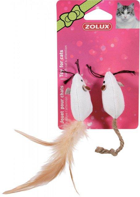 ZOLUX Zabawki dla kota 2 myszy z piórkami 5 cm Zabawki